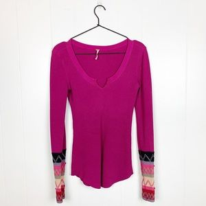 Free People Embroidered Thermal Henley Top Pink